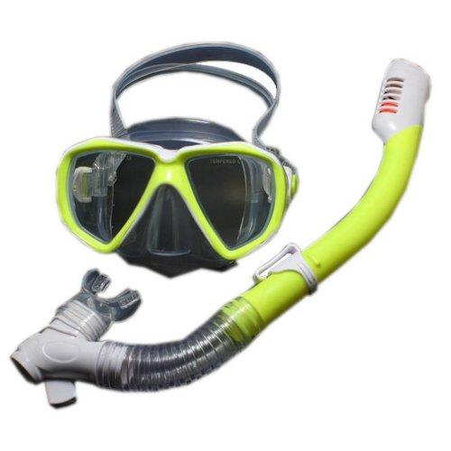Kids Yellow Diving Mask & Dry Snorkel Set, 4-12 Yrs