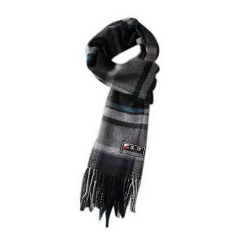 Classic Black Gray Blue Stripes Style Winter Scarf, Valentine's Day Gift For Men