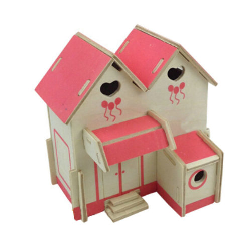 DIY Puzzle Wooden Pink Cute House 3D Puzzle Jigsaw Kit