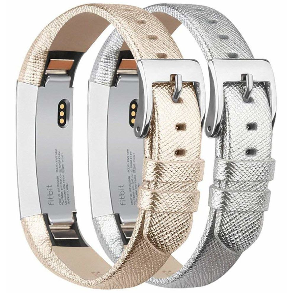 Tobfit Fitbit Alta Strap Alta HR Straps Leather Stainless Steel Secure  Buckle Replacement Band for Fitbit Alta and Alta HR (Gold & Silver)
