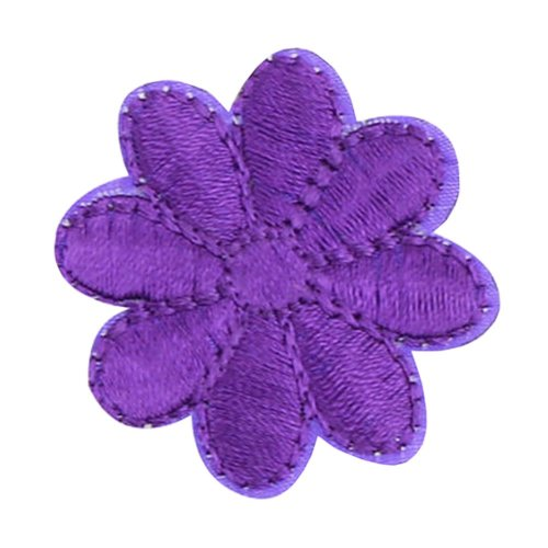 12PCS Embroidered Fabric Patches Sticker Iron Sew On Applique [Flower Purple B]