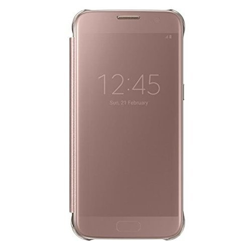 Official Samsung Clear View Cover Flip Case Wallet for Samsung Galaxy S7  - Pink Rose Gold