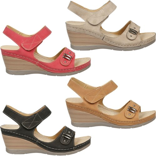 Angelina Ladies Comfy Open Toe Strap Wedge Heel Footbed Cushioned Summer Sandals