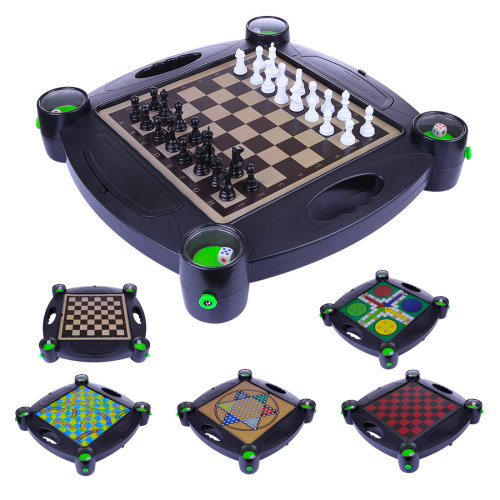 6-in-1 Children Chess Game Board Game Toy Set with Bracket