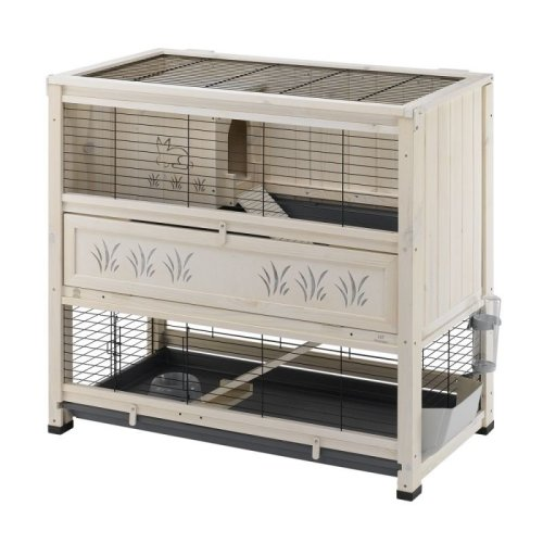 Pine Rabbit Hutch with Two Levels with Rabbit and Grass Design