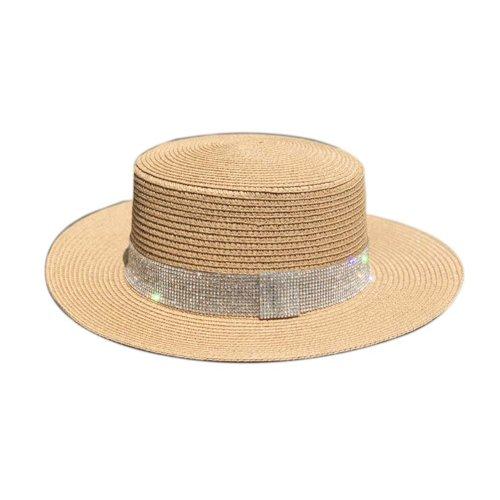 Womens Sun Straw Hat Panama Fedora Hat Girls Sun Protection Wide Brim Visor Caps, Light brown
