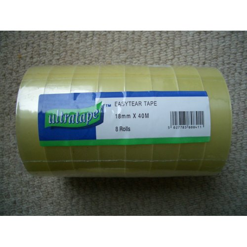 """8 x Rolls Sellotape Clear Sticky Wrapping Tape 18mm x 40m x 3"""" LARGE 75mm CORE"""