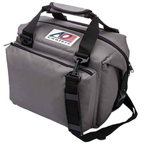 AO Coolers Deluxe Canvas Soft Cooler with High Density Insulation Charcoal 12 Can