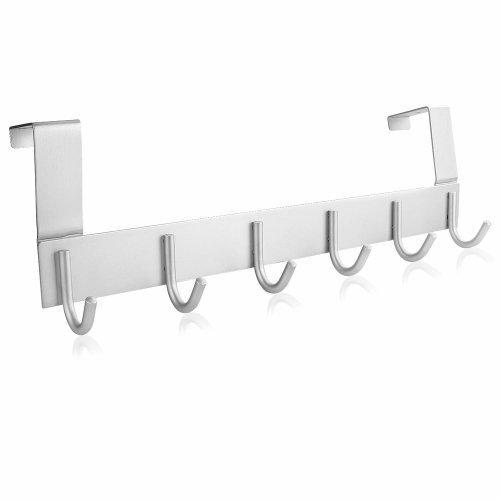 Starvast Over Door Hook 6 Hooks Door Hanger Rack Aluminum Heavy Duty Coat Rack For Towel Hats Clothes Storage Silver