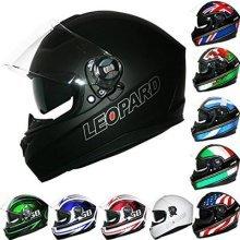 Leopard LEO-828 Double Sun Visor Full Face Motorbike Motorcycle Helmet Road Legal #01 Matt Black L (59-60cm)