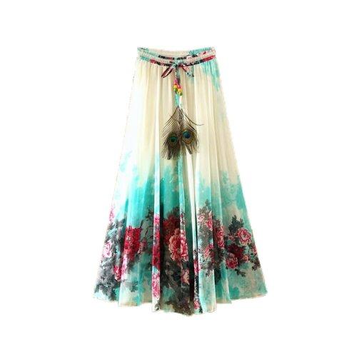 Green Peony Pattern Summer Chiffon Skirt Large Swing Skirts Fairy Skirt