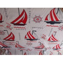 "Nautical Theme Cotton Canvas in Red by the metre 60"" / 152cm Wide"