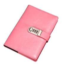 Creative Password Notebook With Lock Notebook Diary Business Notepad, Pink