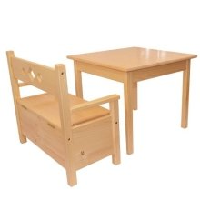 Childrens Furniture Pine Wood Set: 1 Table & 1 Bench Storage Box