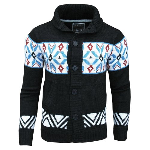 Fly Guy Men's Aztec Mason Shawl Neck Fashion Cardigan Jumper Charcoal / Blue / Deep Red /