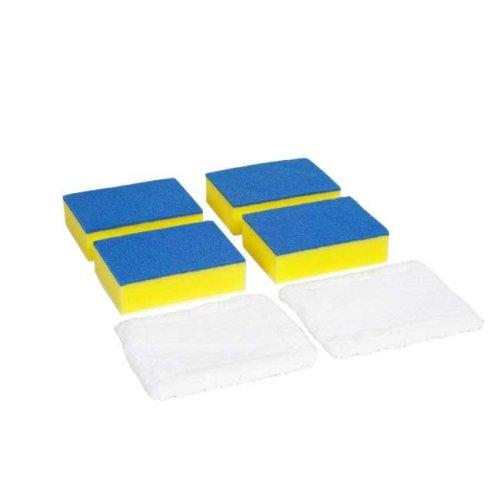 Long Reach Bathroom Cleaner Set Refill Pack   6 heads 4xSponge, 2 x Micro-fibre