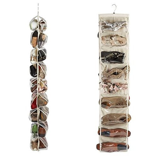 Heavy Duty 18 Pocket Hanging Shoe Organiser for the Wardrobe Rail for up to 18 Pairs - Robust Oxford Canvas Type Beige Material (600D) with...