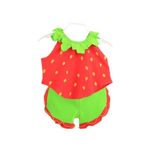 Sleeveless Strawberry Baby Suit Kids Cloth,80cm