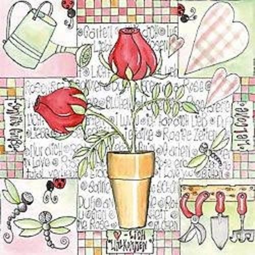 4 x Paper Napkins - Rose Garden - Ideal for Decoupage / Napkin Art