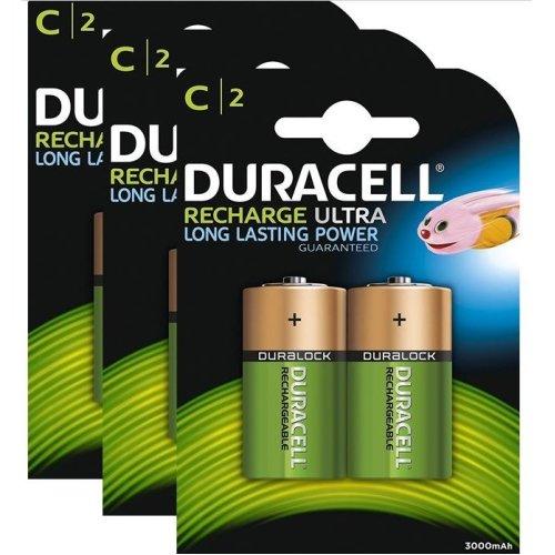 6 x Duracell C Size 3000 mAh Rechargeable Batteries NiMH LR14 HR14 DC1400 ACCU