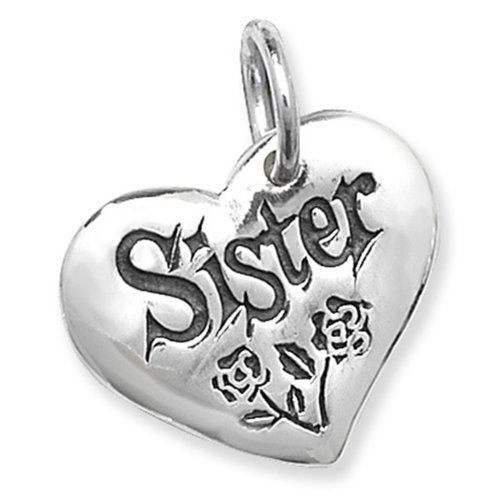 Sterling Silver Sister Heart Pendant On A Snake Necklace