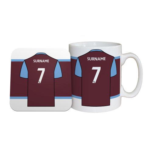 Official Personalised West Ham United FC Shirt Mug & Coaster Set