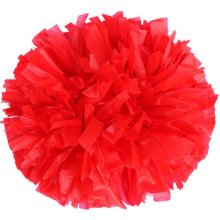 Set of 2 Team Sports Cheerleading Poms Match Pom Plastic Ring Red