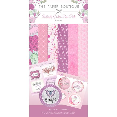 "Creative World Of Crafts Paper & Topper Kit 8""X8"" 44/Pkg-Butterfly Garden, Rose Pink"