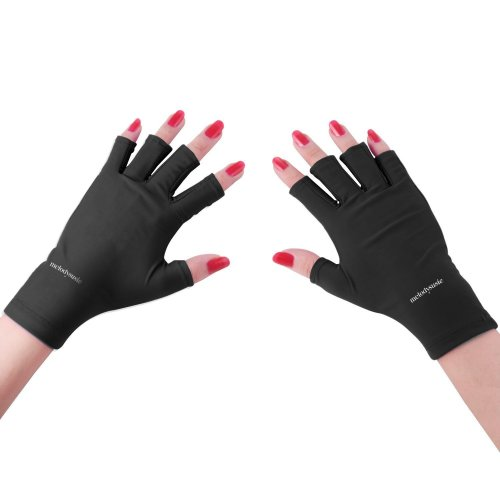 MelodySusie® LYCRA UV Shield Gloves - a Must-Have UV Shield Gloves for UV/LED Nail Lamp Dryer Accessory (Classic Black)