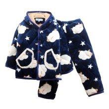 Children Pajamas Warm Thick Cotton Winter Suit Modern Set Sleepwear/Nightwear Clothes for Home, D1
