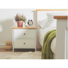 2 Drawer Bedside Table White OLIVET