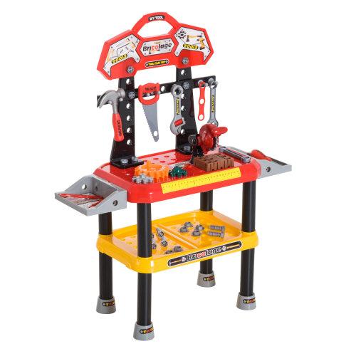 HOMCOM Kids Children 74 pcs Workbench Set DIY Tool Table Set Pretend Role Play Toy Educational Creative