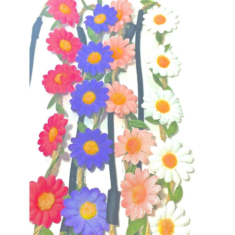 Headband Daisy Flower Fabric BoHo Style Festivals Weddings Flower Girls Browband