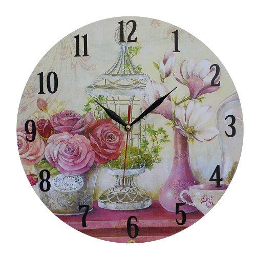 Obique Home Decoration Roses and Magnolias 34cm MDF Wall Clock
