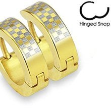 Pair Of Gold Plated Checked Design Surgical Steel Hinged Snap Close Huggy Hooped Earrings 0.8mm Thickness