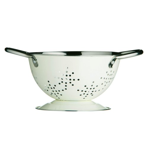 Mini Retro Colander Enamel, Cream, 14 cm