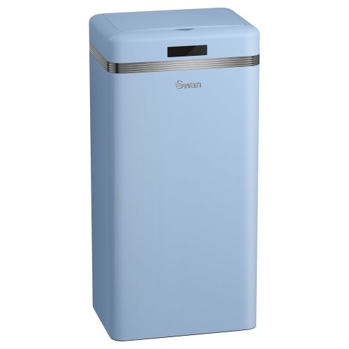 Swan SWKA4500BLN Retro Square Sensor Bin with Infrared Technology, 45 Litre, Blue