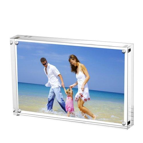 AMEITECH Acrylic Photo Frames 15 x 20 cm, Magnetic Acrylic Block Picture Frame, Desktop Frameless Photograph Display - Transparent