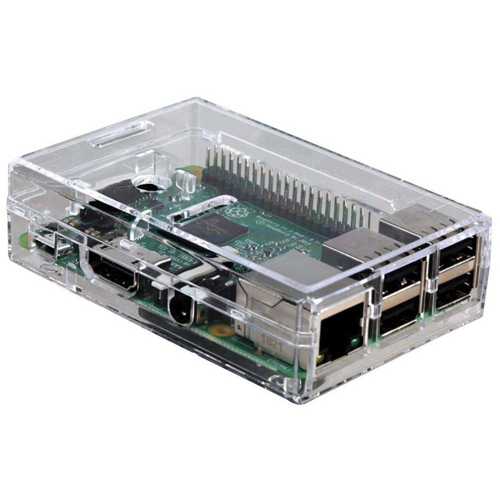 Raspberry Pi 3 Model B - Quad-Core Computer - Clear Case