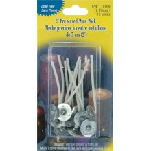 "Pre-Waxed Wire Wicks W/Clips 2"" 12/Pkg-"