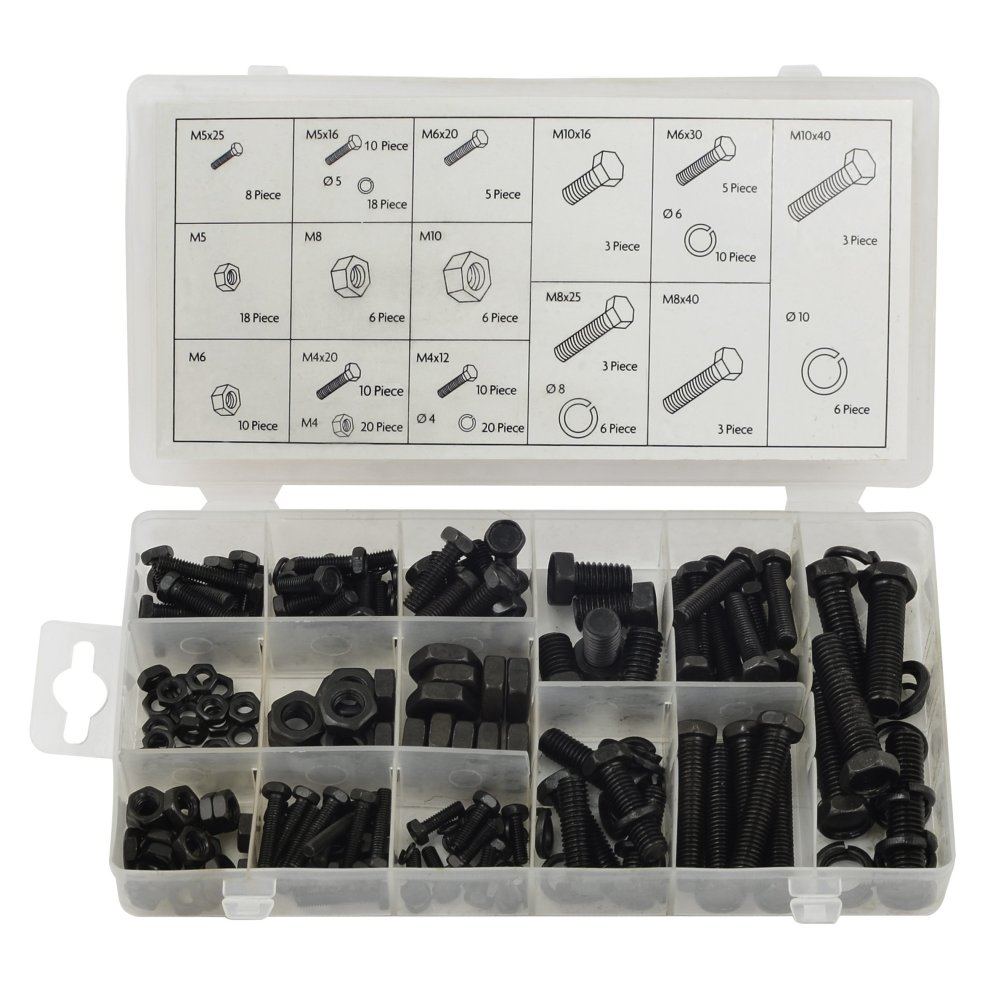 75-Piece 75pce Assorted m5 m8 FIXMAN 662943 Hex Bolts and Nuts Pack-Grey