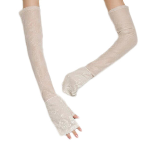 New Lace Outdoor Sunscreen Clothing Women Gloves Breathable Thin Sun Protective Mittens Sleeves-Beige