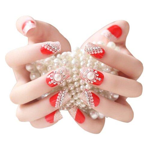 2 Boxes(48 Pieces) Wedding Beautiful Style DIY 3D Design False Nails, Red