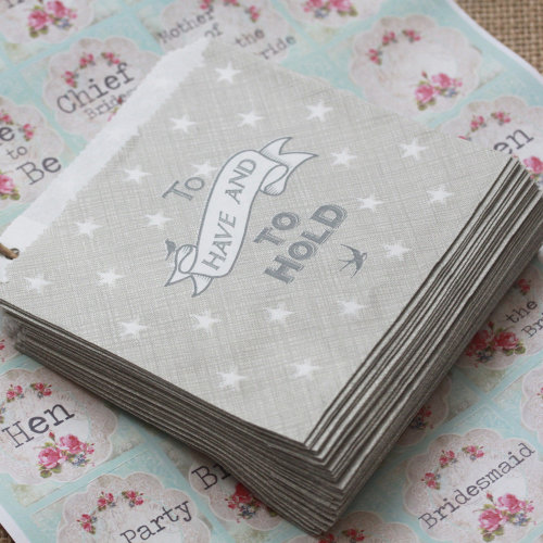 East of India Little Strung Bags 'To Have And To Hold' x 40 Grey Wedding Favours