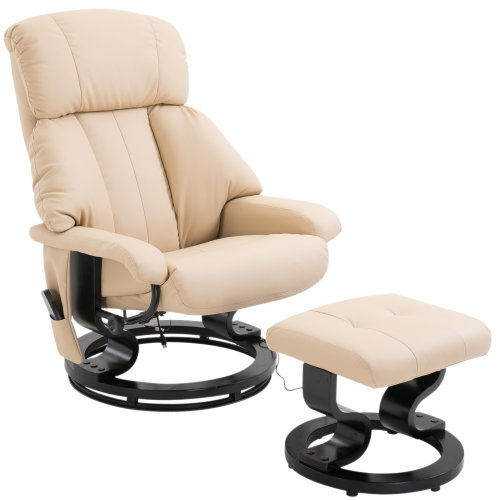 Homcom Faux Leather Heated Massage Chair & Footstool - Cream