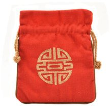 5PCS Handcraft Embroidery Purse Pouch Mini Drawstring Bag Pocket, Red