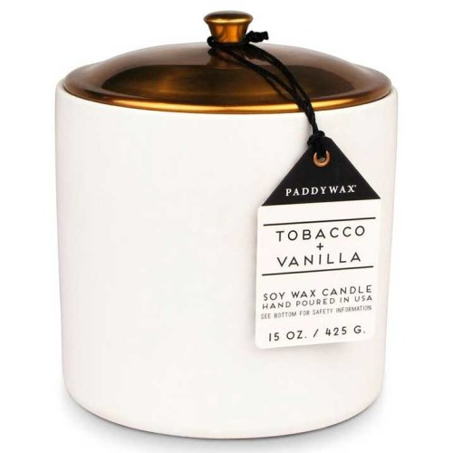 Paddywax Hygge 15oz Large Ceramic/Copper Double Wick Soy Candle Tobacco & Vanilla