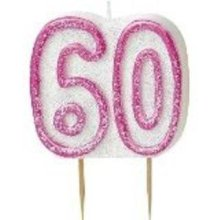 Age 60 Birthday Candle Pink Glitz