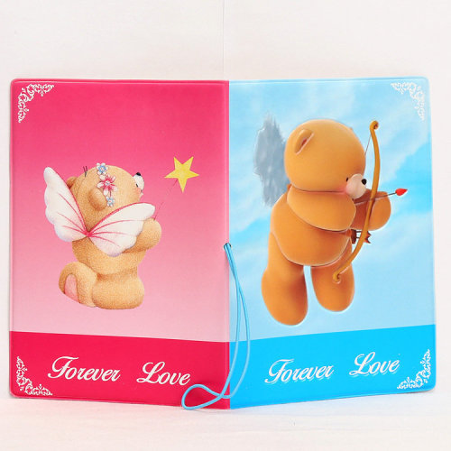 Forever Love Blue Pink Bears Passport Cover With Elastic Band And Ticket Pouch