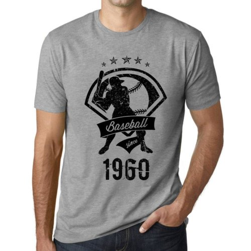 76a611560 Mens Vintage Tee Shirt Graphic T shirt Baseball Since 1960 Grey Marl on  OnBuy